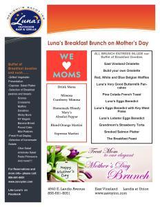 Mother's Day Brunch at Luna's